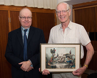 Ian Keable (left) with Gordon Laidlaw and the famous Gillray print