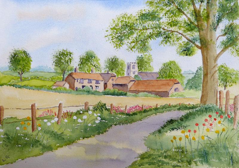 Village scene by Lorna Gwinnett