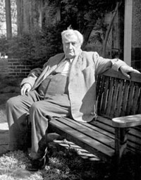Vaughan Williams relaxing in the garden of 'The White Gates', Dorking (photo by Allan Chappelow, 1952, courtesy of the RVW Charitable Trust)