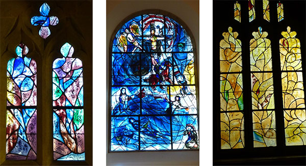 Three of the Chagall windows at All Saints Church, Tudeley, visited in January 2019